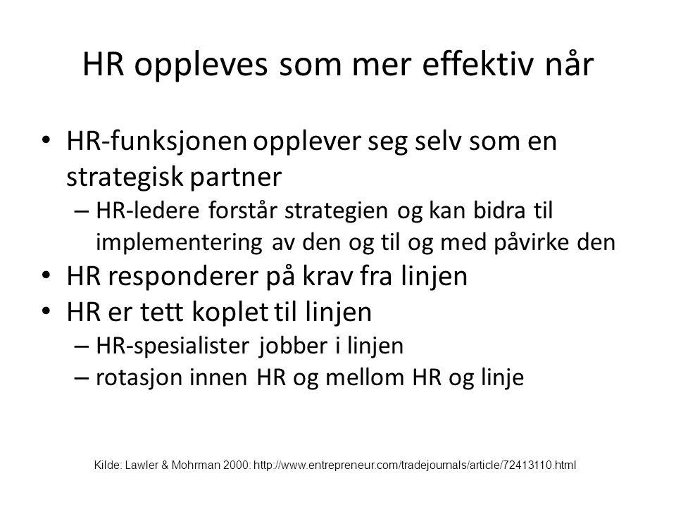 HR oppleves som mer effektiv når • HR-funksjonen opplever seg selv som en strategisk partner – HR-ledere forstår strategien og kan bidra til implement