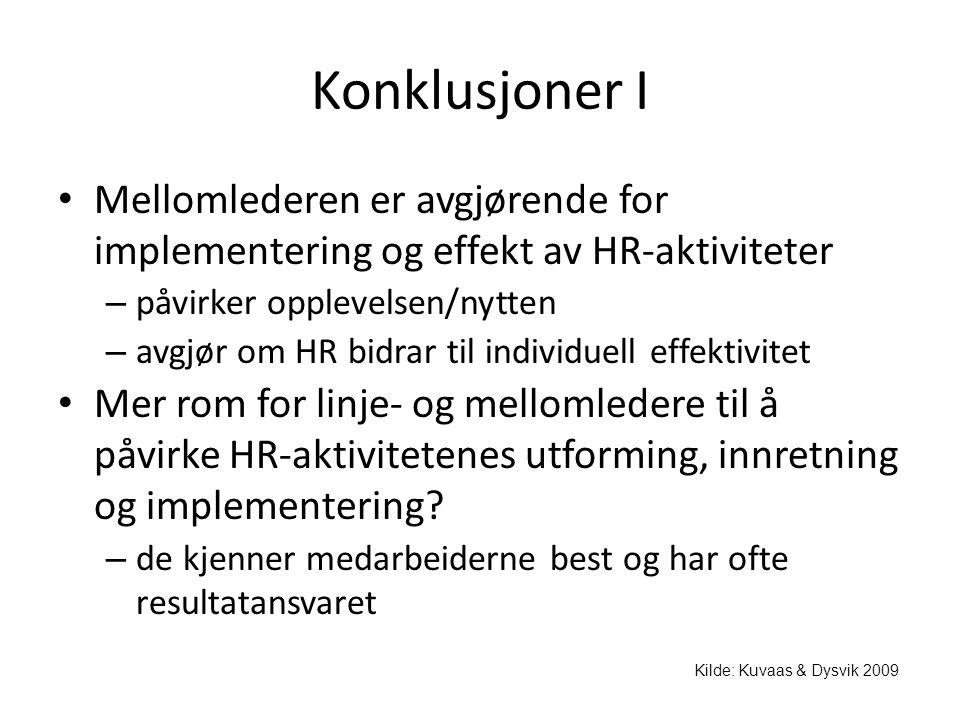 Konklusjoner I • Mellomlederen er avgjørende for implementering og effekt av HR-aktiviteter – påvirker opplevelsen/nytten – avgjør om HR bidrar til in