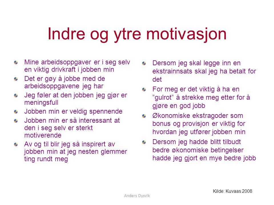Anders Dysvik Indre og ytre motivasjon Mine arbeidsoppgaver er i seg selv en viktig drivkraft i jobben min Det er gøy å jobbe med de arbeidsoppgavene