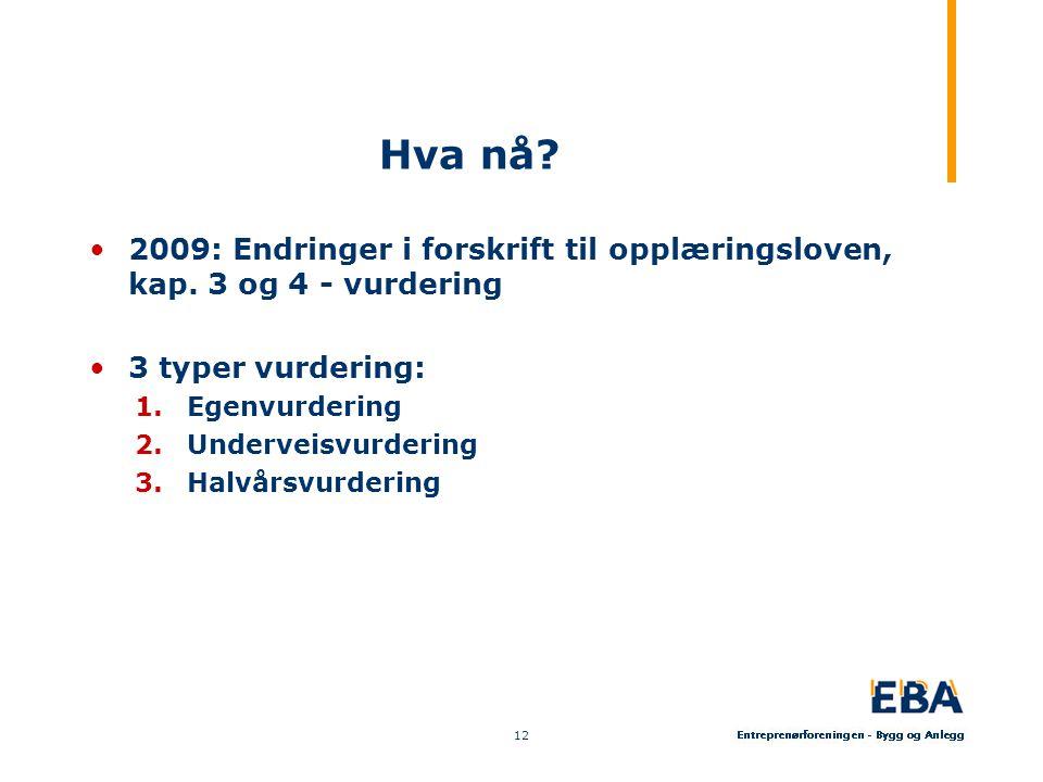 Hva nå.•2009: Endringer i forskrift til opplæringsloven, kap.
