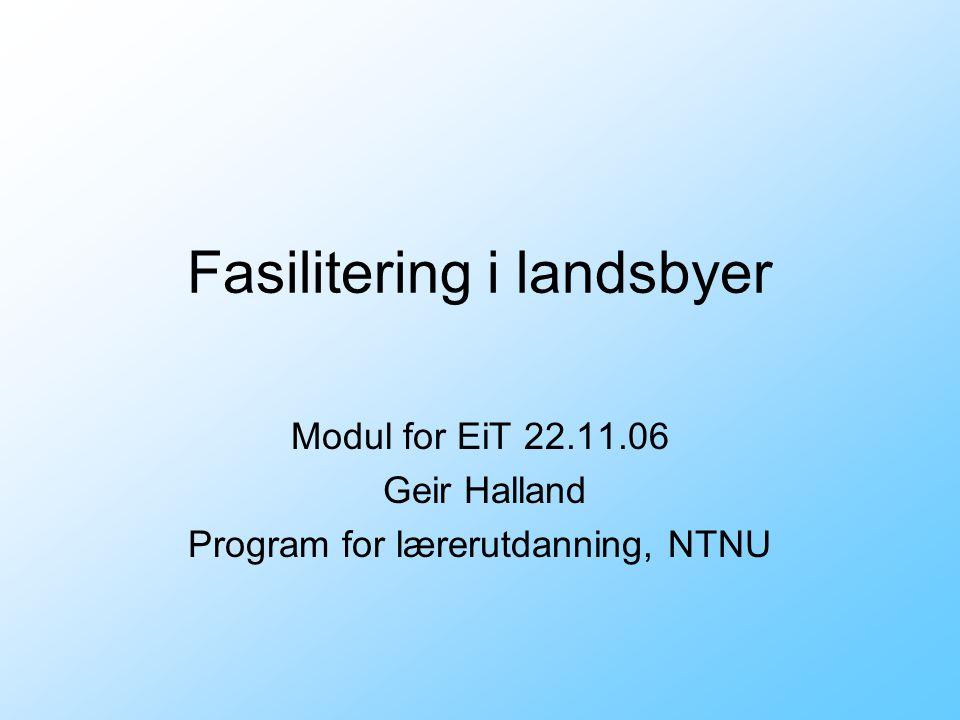 Fasilitering i landsbyer Modul for EiT 22.11.06 Geir Halland Program for lærerutdanning, NTNU