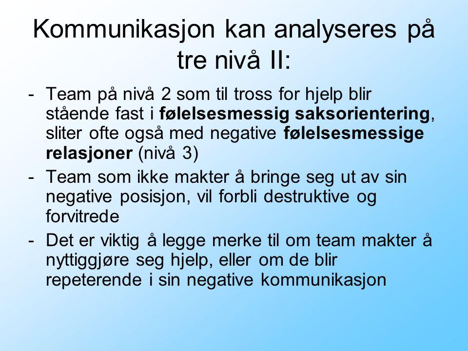 Kommunikasjon kan analyseres på tre nivå II: -Team på nivå 2 som til tross for hjelp blir stående fast i følelsesmessig saksorientering, sliter ofte o