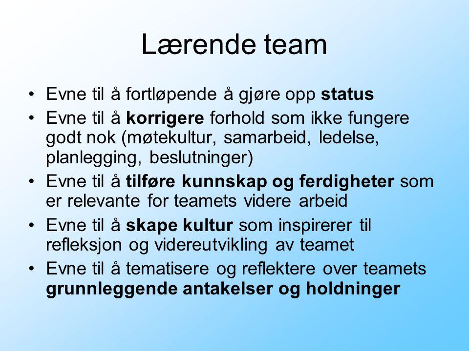 Lærende team •Evne til å fortløpende å gjøre opp status •Evne til å korrigere forhold som ikke fungere godt nok (møtekultur, samarbeid, ledelse, planl