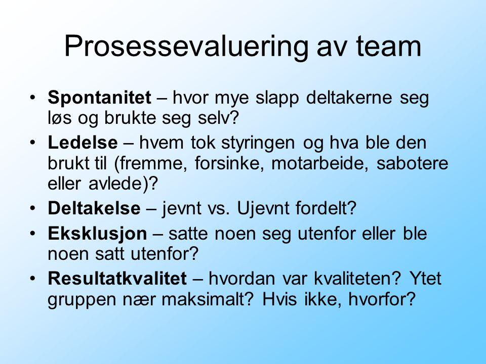 Prosessevaluering av team •Spontanitet – hvor mye slapp deltakerne seg løs og brukte seg selv? •Ledelse – hvem tok styringen og hva ble den brukt til