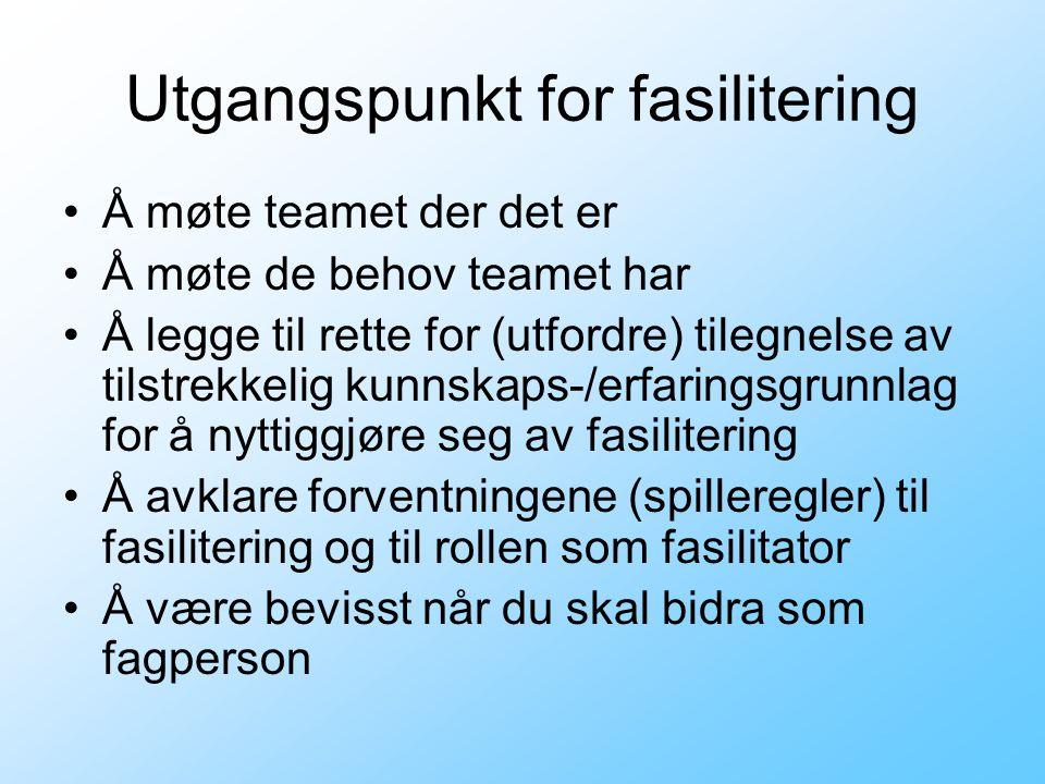 Utgangspunkt for fasilitering •Å møte teamet der det er •Å møte de behov teamet har •Å legge til rette for (utfordre) tilegnelse av tilstrekkelig kunn