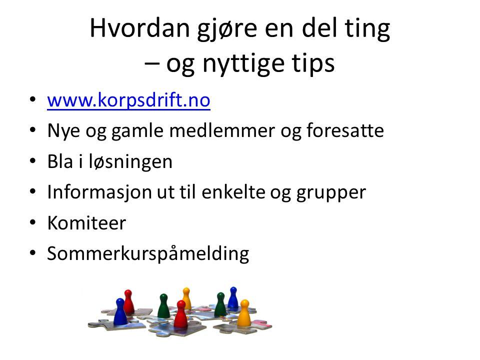 Hvordan gjøre en del ting – og nyttige tips • www.korpsdrift.no www.korpsdrift.no • Nye og gamle medlemmer og foresatte • Bla i løsningen • Informasjo