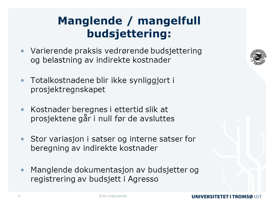 Manglende / mangelfull budsjettering: •Varierende praksis vedrørende budsjettering og belastning av indirekte kostnader •Totalkostnadene blir ikke synliggjort i prosjektregnskapet •Kostnader beregnes i ettertid slik at prosjektene går i null før de avsluttes •Stor variasjon i satser og interne satser for beregning av indirekte kostnader •Manglende dokumentasjon av budsjetter og registrering av budsjett i Agresso BOA-reglementet4