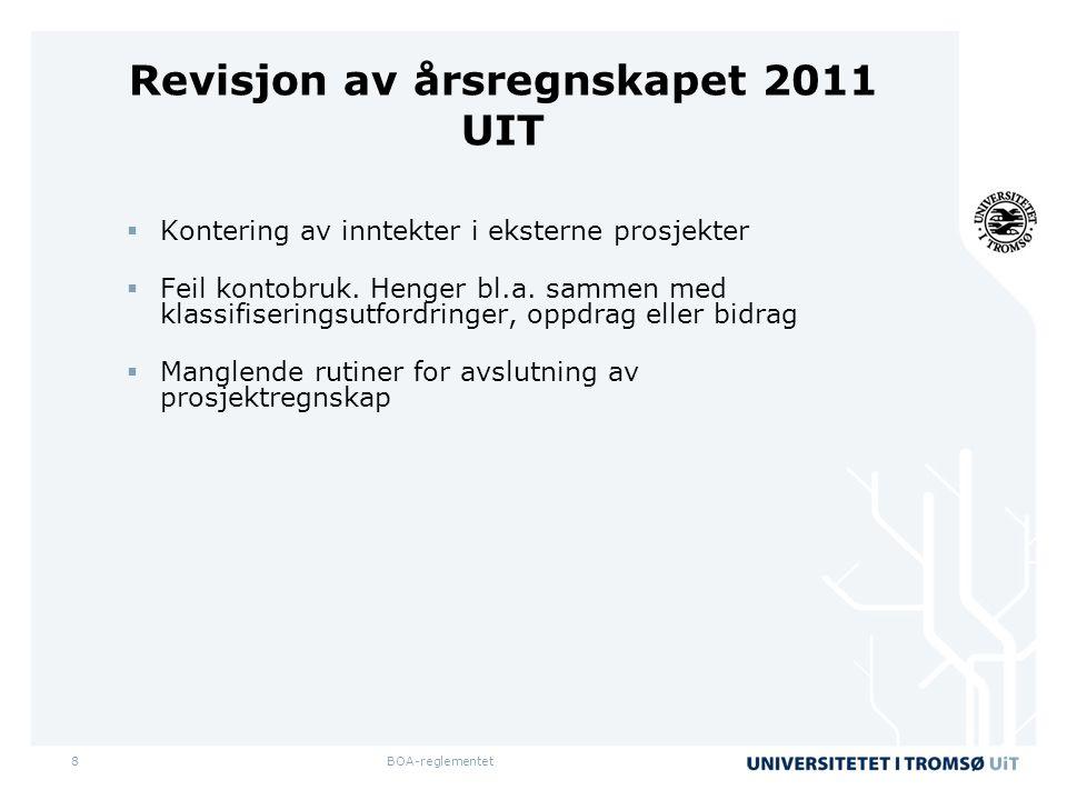 8 Revisjon av årsregnskapet 2011 UIT  Kontering av inntekter i eksterne prosjekter  Feil kontobruk.
