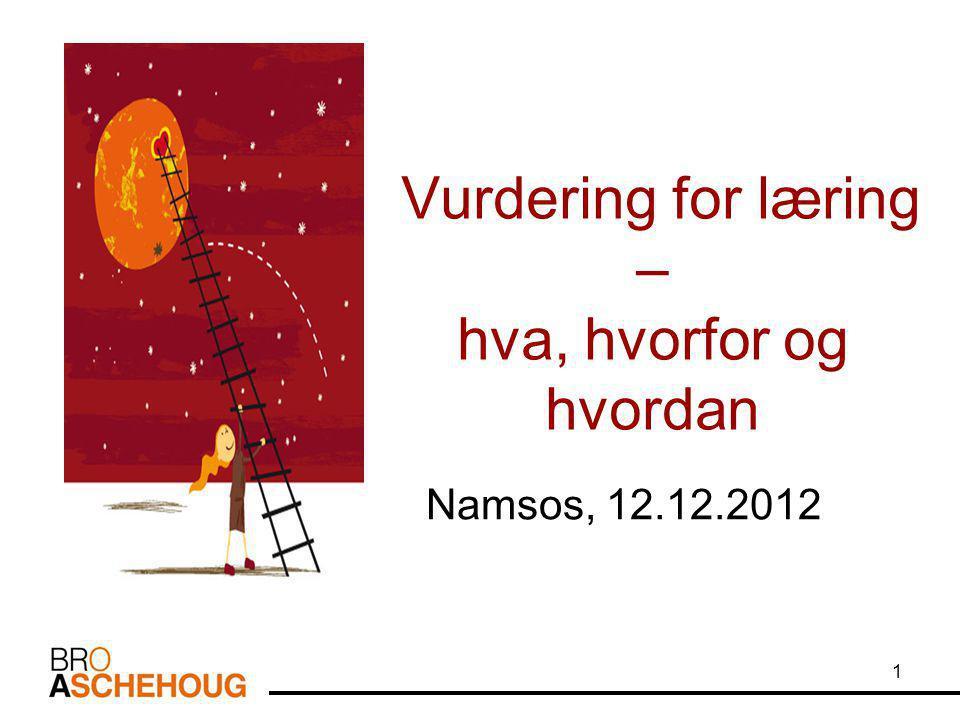 Vurdering for læring – hva, hvorfor og hvordan Namsos, 12.12.2012 1