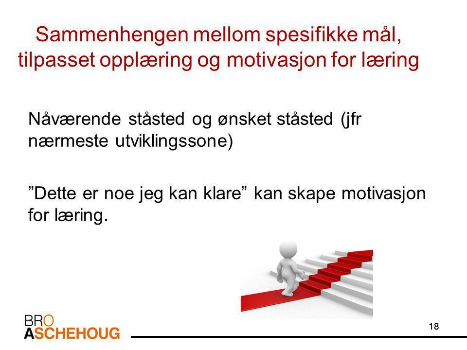 18 Sammenhengen mellom spesifikke mål, tilpasset opplæring og motivasjon for læring Nåværende ståsted og ønsket ståsted (jfr nærmeste utviklingssone) Dette er noe jeg kan klare kan skape motivasjon for læring.