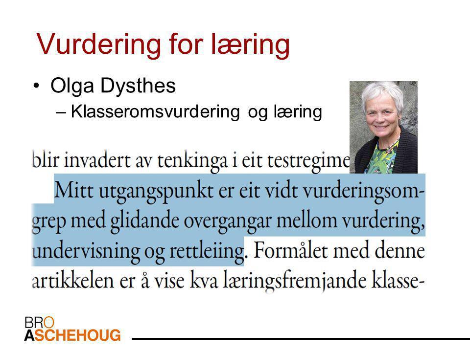 Vurdering for læring •Olga Dysthes –Klasseromsvurdering og læring