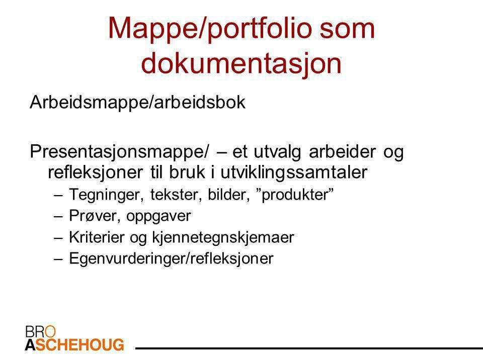 Mappe/portfolio som dokumentasjon Arbeidsmappe/arbeidsbok Presentasjonsmappe/ – et utvalg arbeider og refleksjoner til bruk i utviklingssamtaler –Tegninger, tekster, bilder, produkter –Prøver, oppgaver –Kriterier og kjennetegnskjemaer –Egenvurderinger/refleksjoner