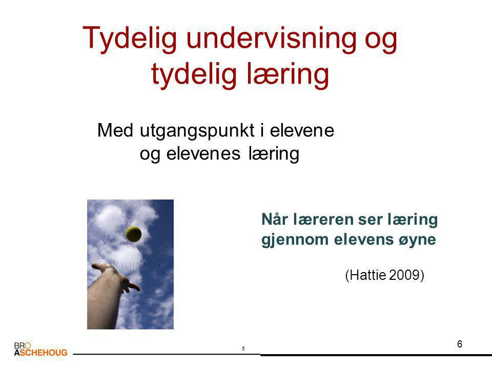 6 Tydelig undervisning og tydelig læring Når læreren ser læring gjennom elevens øyne (Hattie 2009) Med utgangspunkt i elevene og elevenes læring