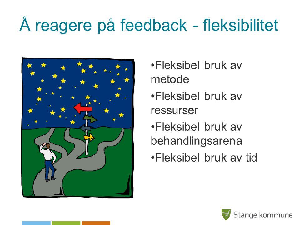 Å reagere på feedback - fleksibilitet •Fleksibel bruk av metode •Fleksibel bruk av ressurser •Fleksibel bruk av behandlingsarena •Fleksibel bruk av ti