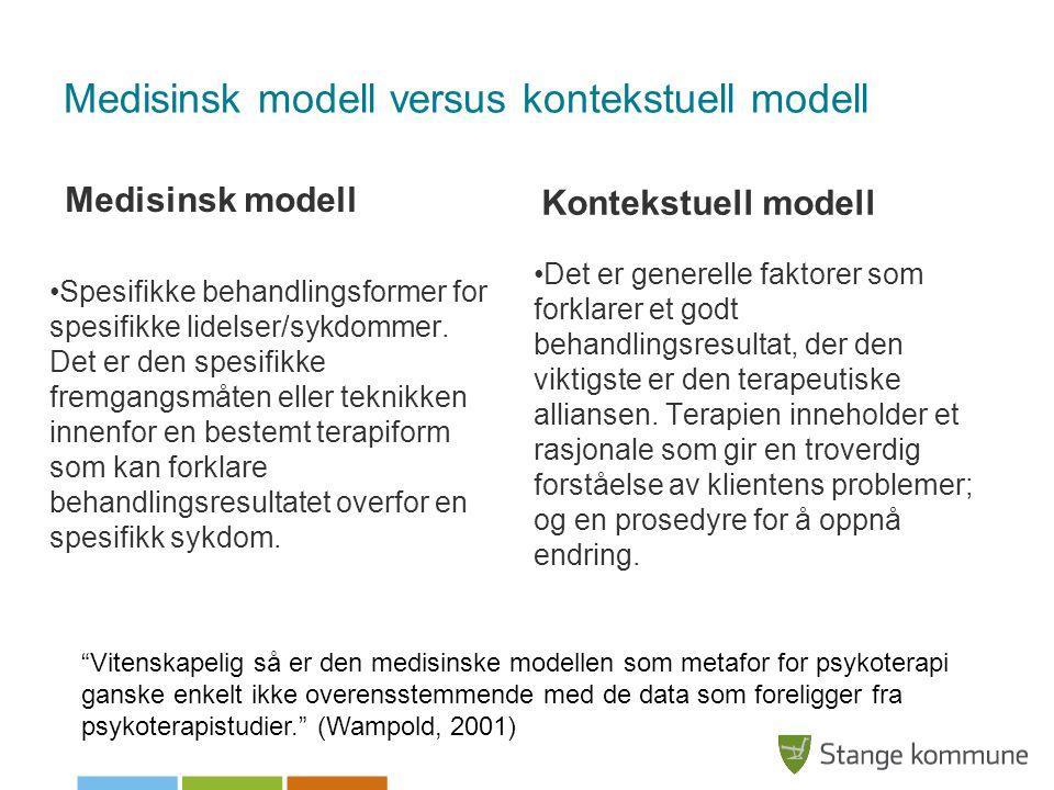 Medisinsk modell versus kontekstuell modell Medisinsk modell •Spesifikke behandlingsformer for spesifikke lidelser/sykdommer. Det er den spesifikke fr