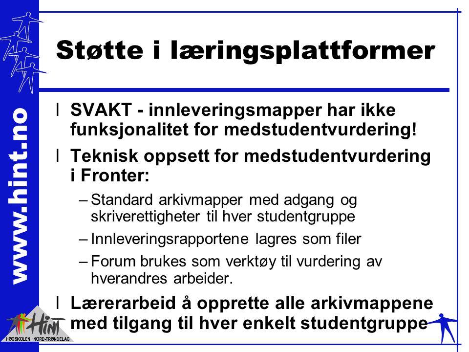 www.hint.no Støtte i læringsplattformer lSVAKT - innleveringsmapper har ikke funksjonalitet for medstudentvurdering! lTeknisk oppsett for medstudentvu