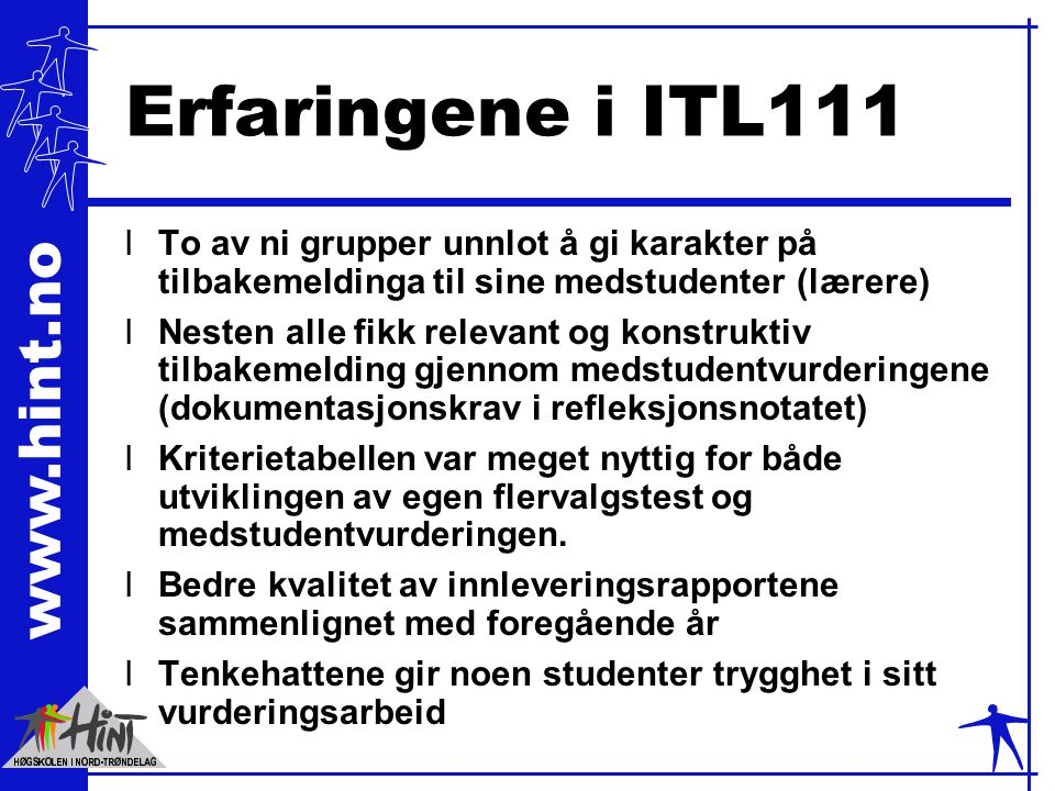 www.hint.no Erfaringene i ITL111 lTo av ni grupper unnlot å gi karakter på tilbakemeldinga til sine medstudenter (lærere) lNesten alle fikk relevant o