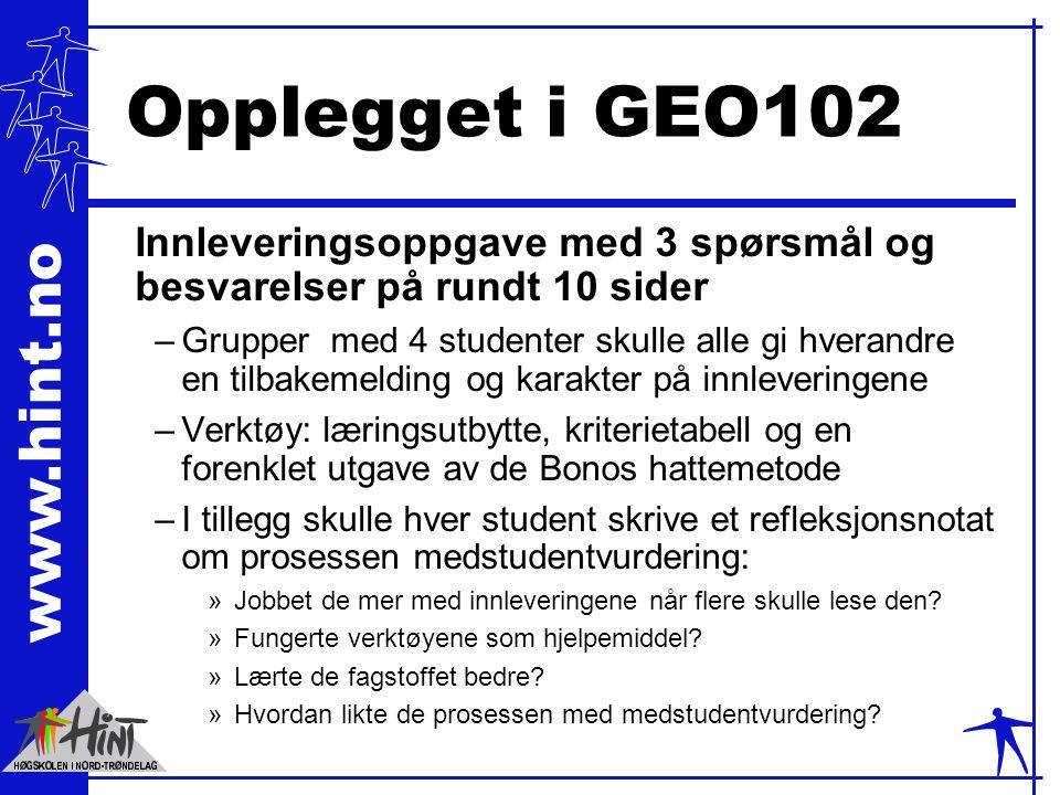 www.hint.no Opplegget i GEO102 Innleveringsoppgave med 3 spørsmål og besvarelser på rundt 10 sider –Grupper med 4 studenter skulle alle gi hverandre e