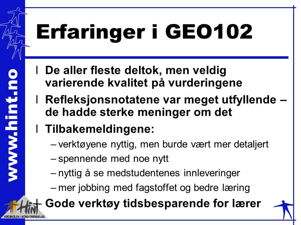 www.hint.no Erfaringer i GEO102 lDe aller fleste deltok, men veldig varierende kvalitet på vurderingene lRefleksjonsnotatene var meget utfyllende – de