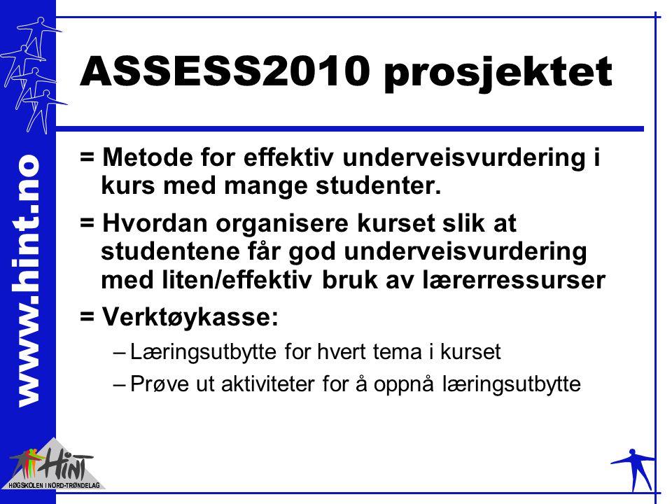 www.hint.no ASSESS2010 prosjektet = Metode for effektiv underveisvurdering i kurs med mange studenter. = Hvordan organisere kurset slik at studentene