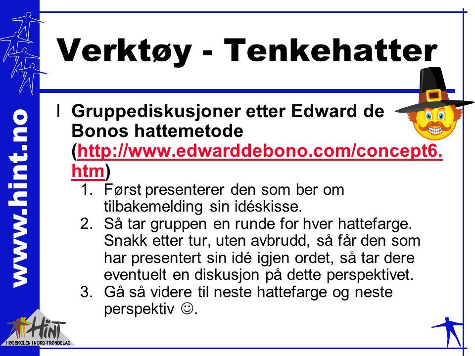 www.hint.no Verktøy - Tenkehatter lGruppediskusjoner etter Edward de Bonos hattemetode (http://www.edwarddebono.com/concept6.