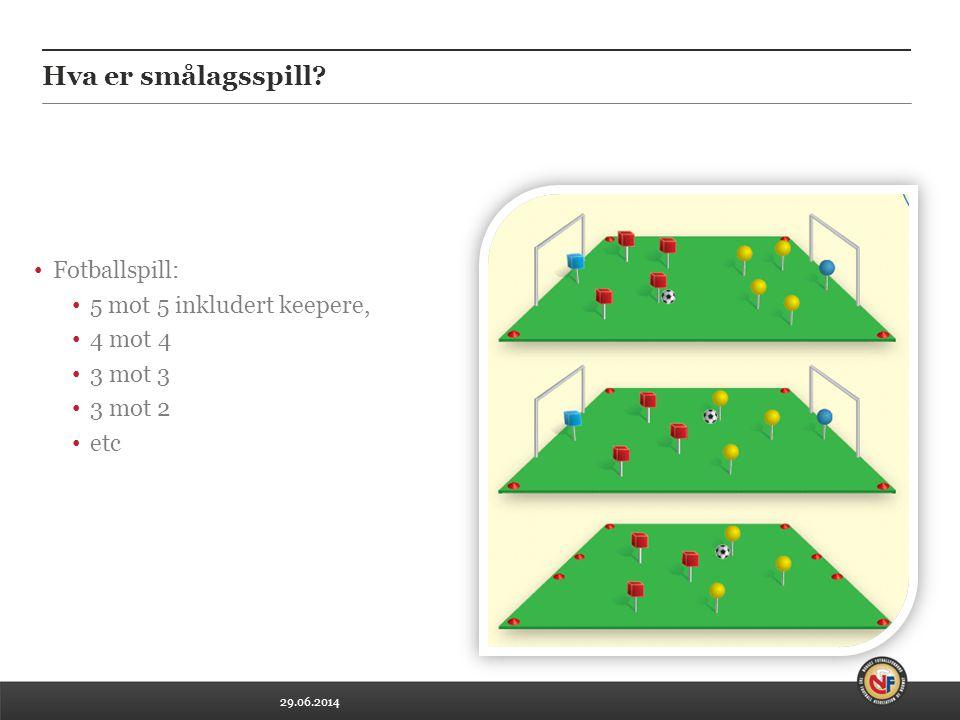29.06.2014 • Fotballspill: • 5 mot 5 inkludert keepere, • 4 mot 4 • 3 mot 3 • 3 mot 2 • etc Hva er smålagsspill?