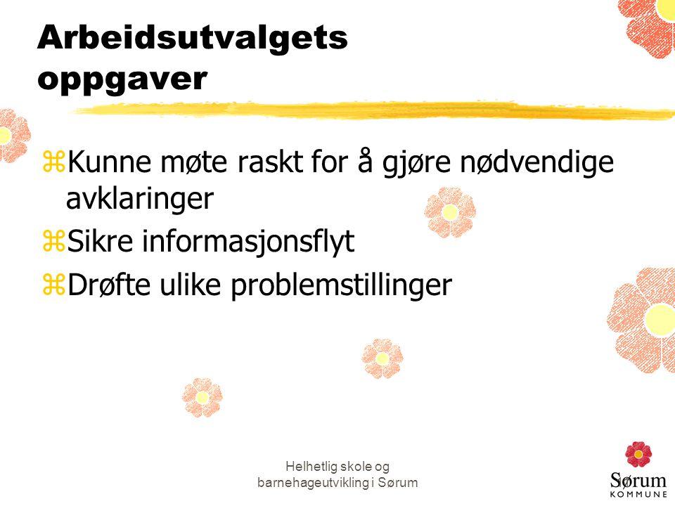Helhetlig skole og barnehageutvikling i Sørum11 Arbeidsutvalgets oppgaver zKunne møte raskt for å gjøre nødvendige avklaringer zSikre informasjonsflyt