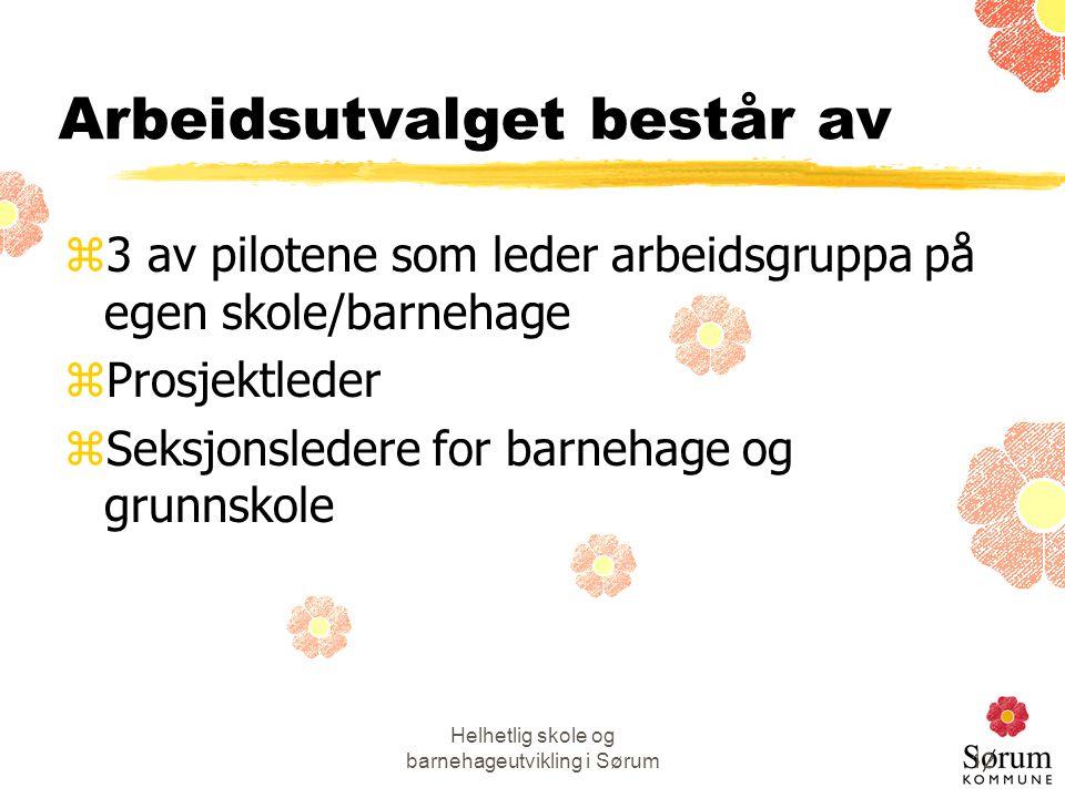 Helhetlig skole og barnehageutvikling i Sørum12 Arbeidsutvalget består av z3 av pilotene som leder arbeidsgruppa på egen skole/barnehage zProsjektlede