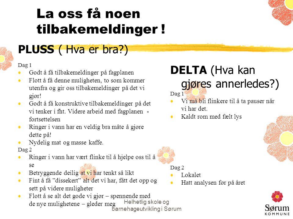 Helhetlig skole og barnehageutvikling i Sørum22 La oss få noen tilbakemeldinger ! PLUSS ( Hva er bra?) Dag 1  Godt å få tilbakemeldinger på fagplanen