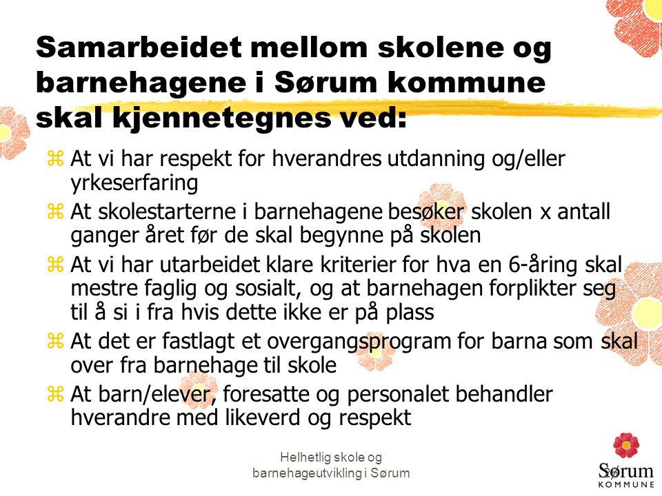 Helhetlig skole og barnehageutvikling i Sørum25 Samarbeidet mellom skolene og barnehagene i Sørum kommune skal kjennetegnes ved: zAt vi har respekt fo