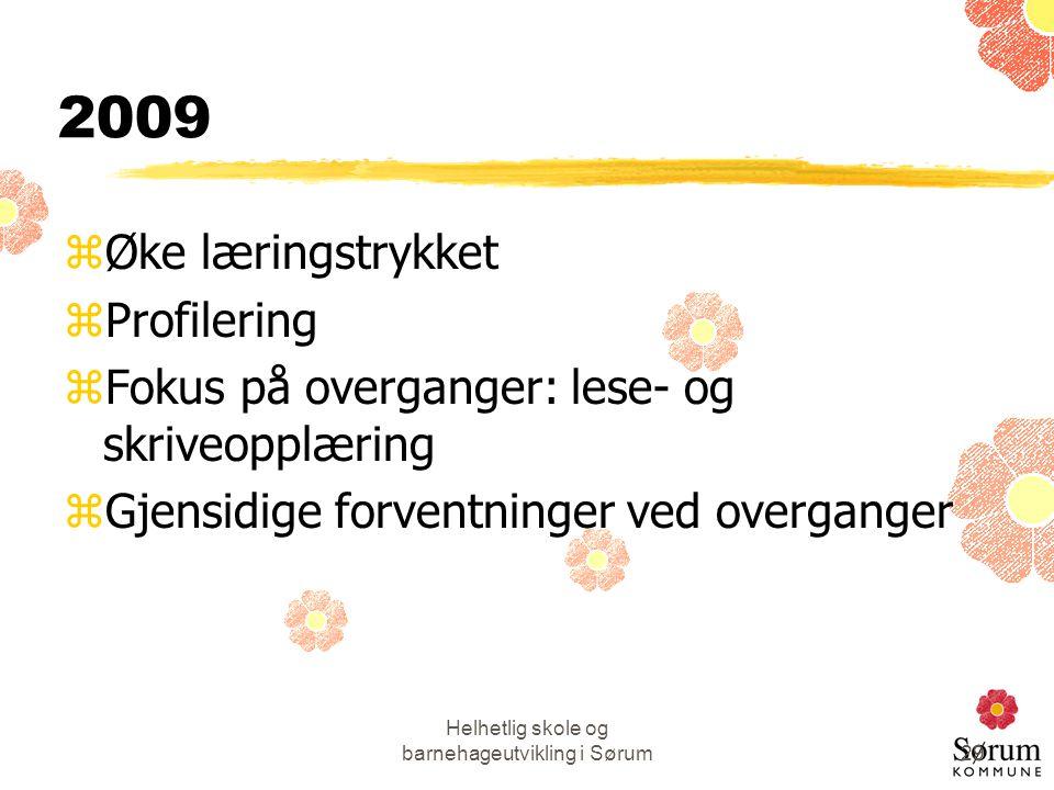 Helhetlig skole og barnehageutvikling i Sørum29 2009 zØke læringstrykket zProfilering zFokus på overganger: lese- og skriveopplæring zGjensidige forve