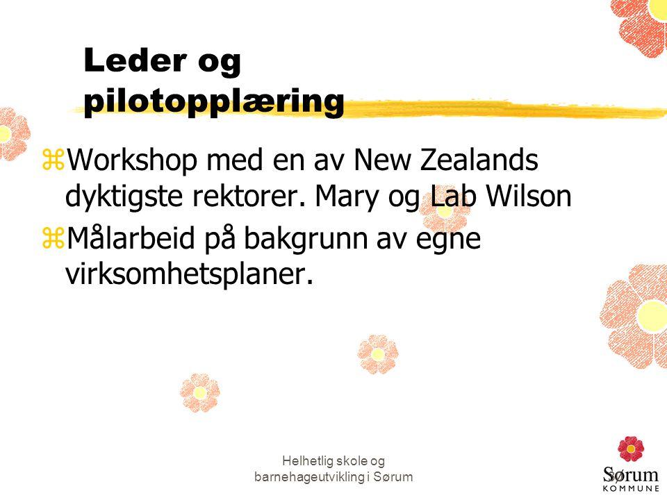 Helhetlig skole og barnehageutvikling i Sørum30 Leder og pilotopplæring zWorkshop med en av New Zealands dyktigste rektorer. Mary og Lab Wilson zMålar