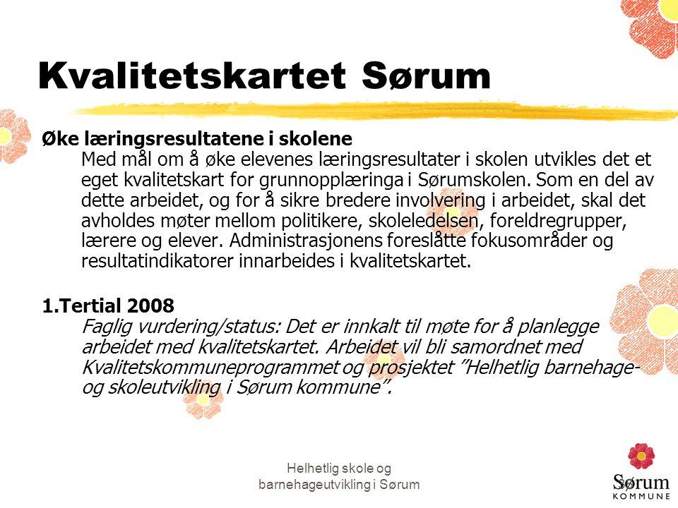 Helhetlig skole og barnehageutvikling i Sørum35 Kvalitetskartet Sørum Øke læringsresultatene i skolene Med mål om å øke elevenes læringsresultater i s
