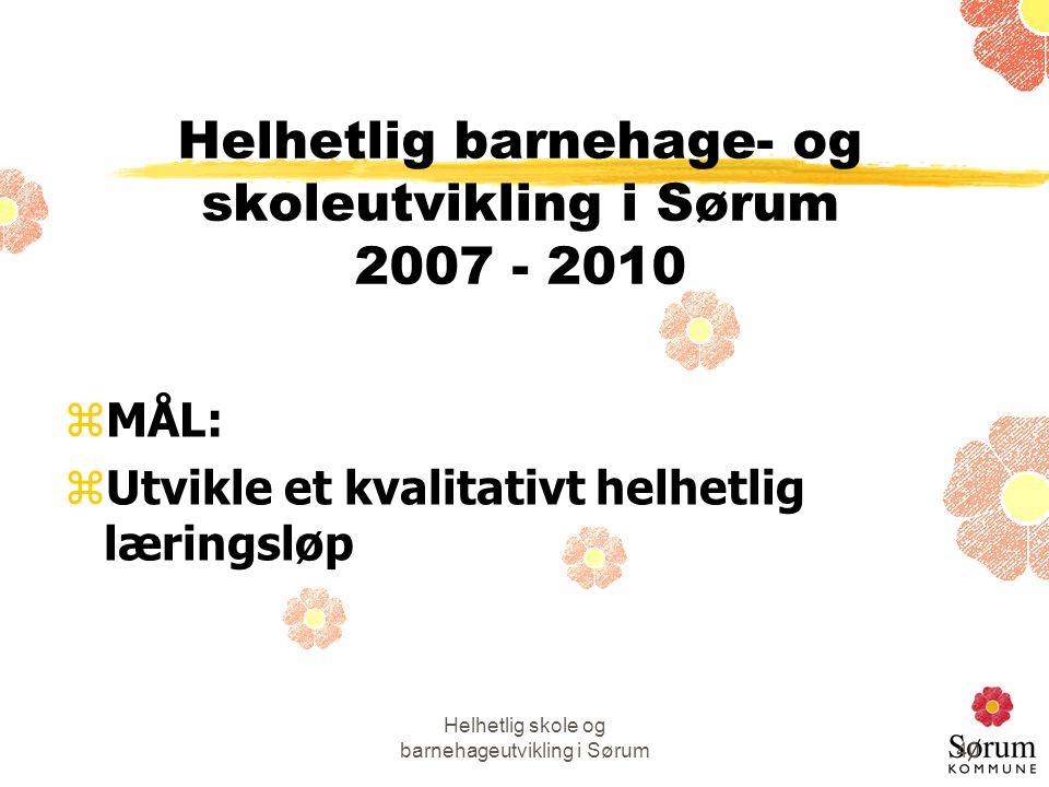 Helhetlig skole og barnehageutvikling i Sørum40 Helhetlig barnehage- og skoleutvikling i Sørum 2007 - 2010 zMÅL: zUtvikle et kvalitativt helhetlig lær