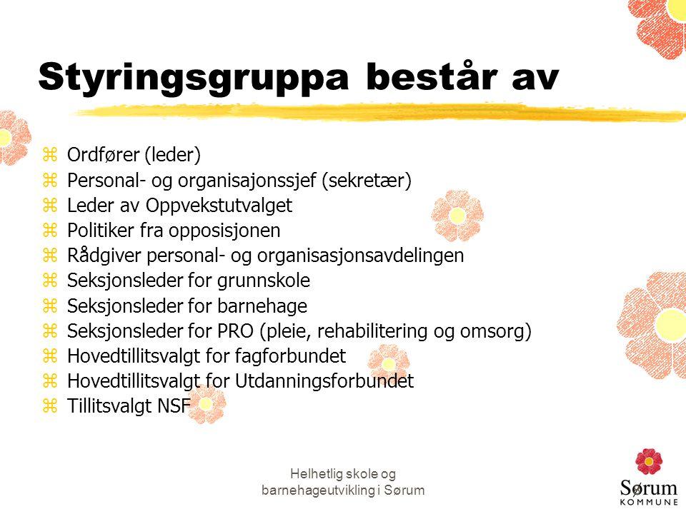 Helhetlig skole og barnehageutvikling i Sørum8 Styringsgruppa består av zOrdfører (leder) zPersonal- og organisajonssjef (sekretær) zLeder av Oppvekst