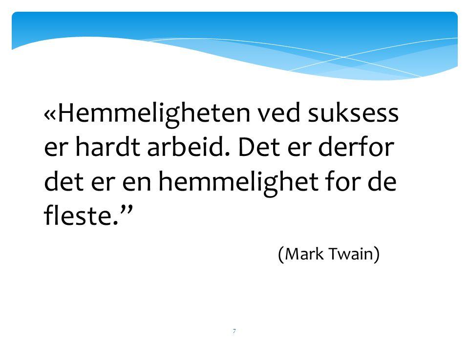 """7 «Hemmeligheten ved suksess er hardt arbeid. Det er derfor det er en hemmelighet for de fleste."""" (Mark Twain)"""