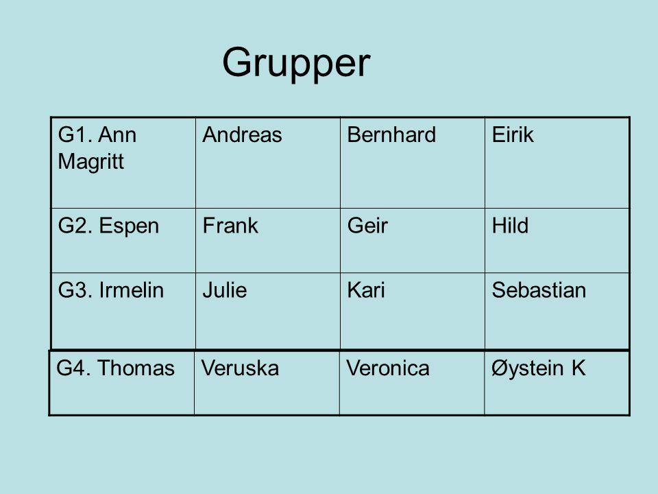 Grupper G1. Ann Magritt AndreasBernhardEirik G2. EspenFrankGeirHild G3. IrmelinJulieKariSebastian G4. ThomasVeruskaVeronicaØystein K