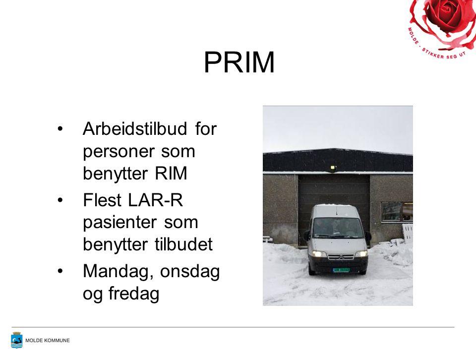 PRIM •Arbeidstilbud for personer som benytter RIM •Flest LAR-R pasienter som benytter tilbudet •Mandag, onsdag og fredag