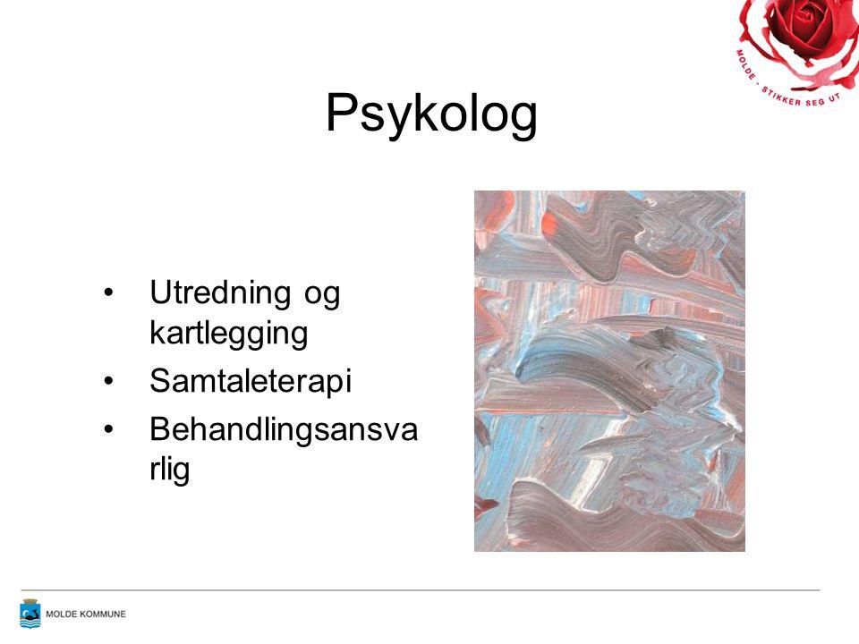 Psykolog •Utredning og kartlegging •Samtaleterapi •Behandlingsansva rlig