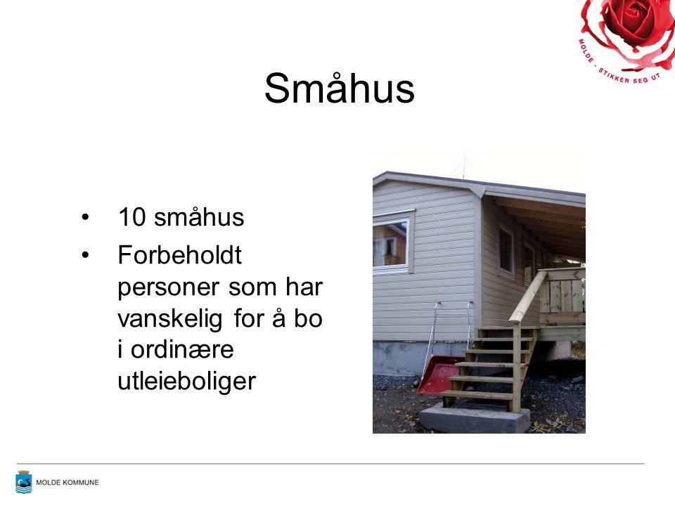 Småhus •10 småhus •Forbeholdt personer som har vanskelig for å bo i ordinære utleieboliger