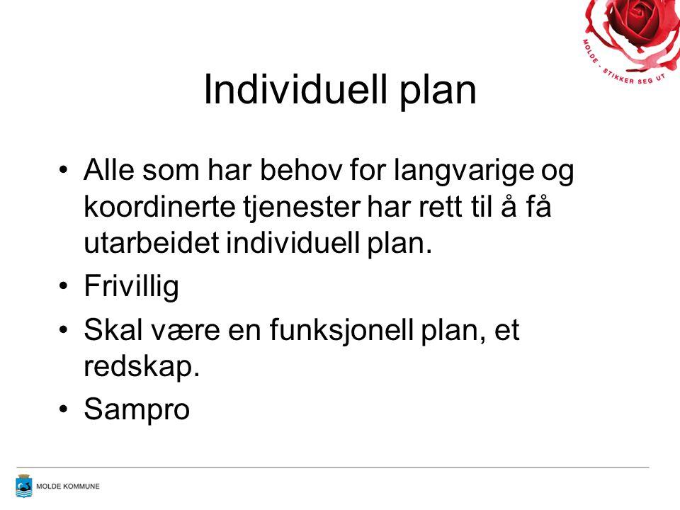 Individuell plan •Alle som har behov for langvarige og koordinerte tjenester har rett til å få utarbeidet individuell plan.