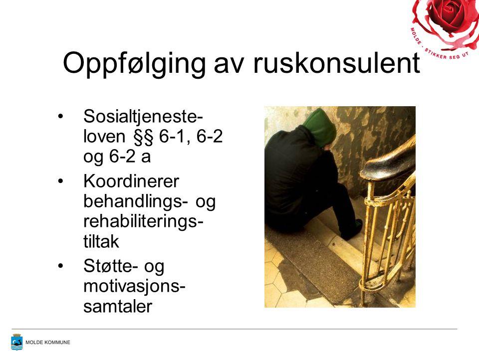 •Sosialtjeneste- loven §§ 6-1, 6-2 og 6-2 a •Koordinerer behandlings- og rehabiliterings- tiltak •Støtte- og motivasjons- samtaler Oppfølging av ruskonsulent