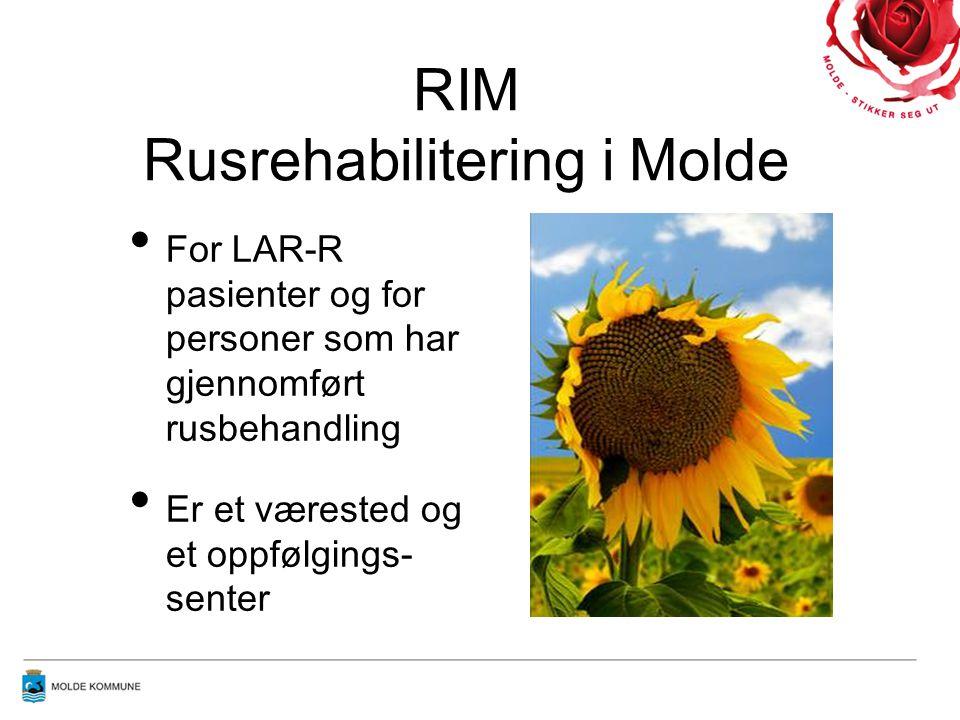 RIM Rusrehabilitering i Molde • For LAR-R pasienter og for personer som har gjennomført rusbehandling • Er et værested og et oppfølgings- senter