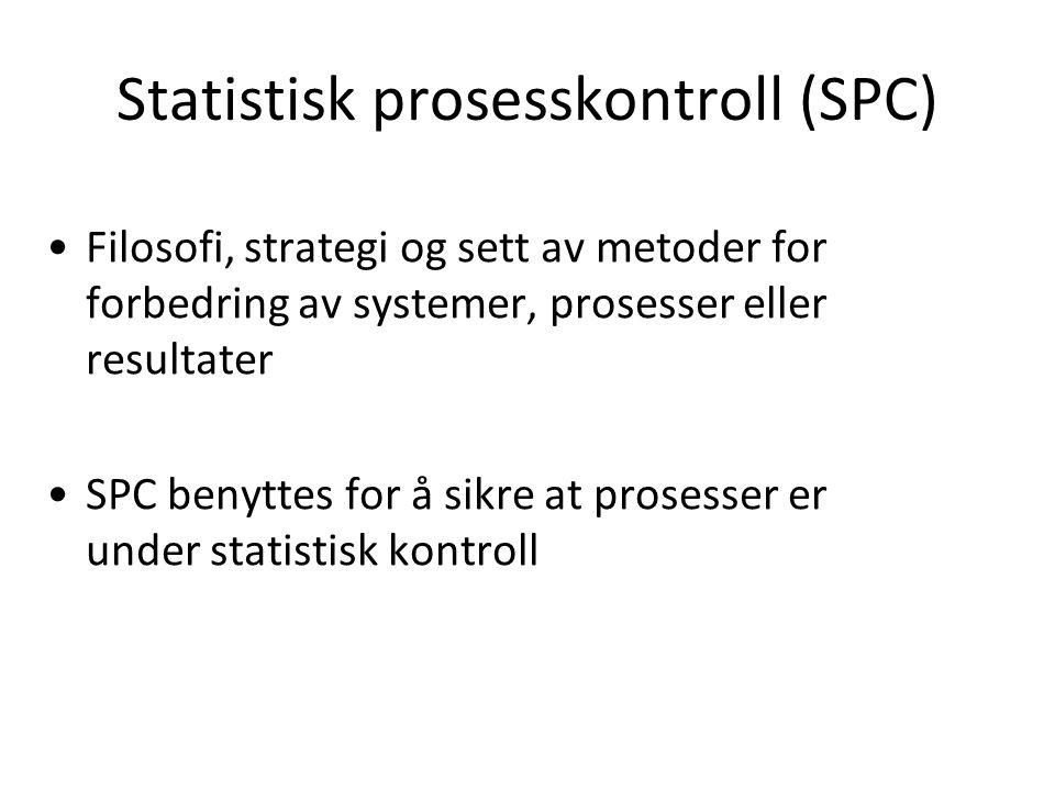 Statistisk prosesskontroll (SPC) •Filosofi, strategi og sett av metoder for forbedring av systemer, prosesser eller resultater •SPC benyttes for å sik