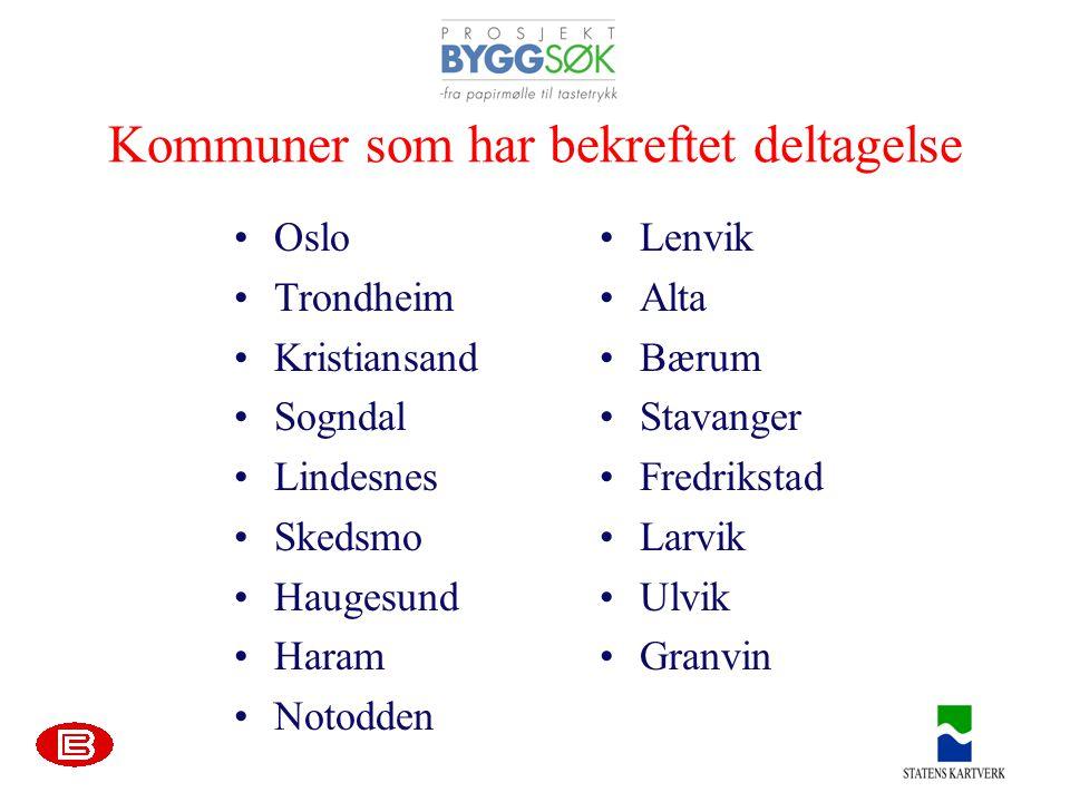 Kommuner som har bekreftet deltagelse •Oslo •Trondheim •Kristiansand •Sogndal •Lindesnes •Skedsmo •Haugesund •Haram •Notodden •Lenvik •Alta •Bærum •Stavanger •Fredrikstad •Larvik •Ulvik •Granvin