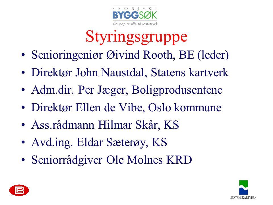 Styringsgruppe •Senioringeniør Øivind Rooth, BE (leder) •Direktør John Naustdal, Statens kartverk •Adm.dir.