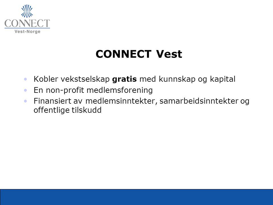 CONNECT Vest •Kobler vekstselskap gratis med kunnskap og kapital •En non-profit medlemsforening •Finansiert av medlemsinntekter, samarbeidsinntekter o