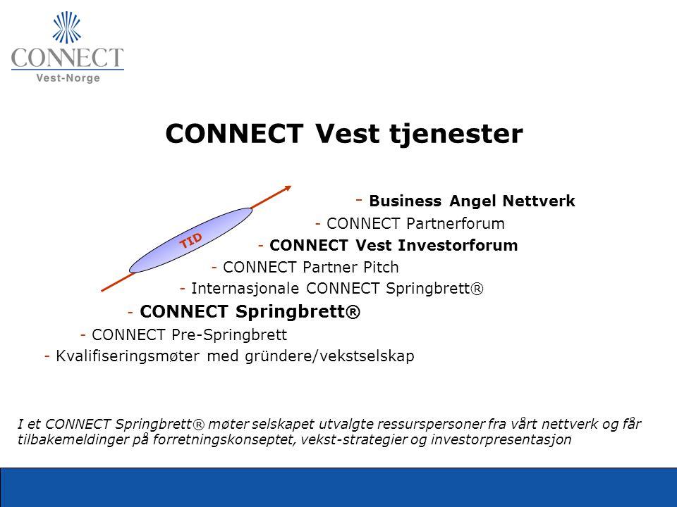 CONNECT Vest tjenester - Business Angel Nettverk - CONNECT Partnerforum - CONNECT Vest Investorforum - CONNECT Partner Pitch - Internasjonale CONNECT