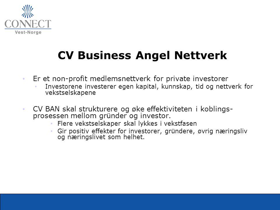 CV Business Angel Nettverk • Er et non-profit medlemsnettverk for private investorer • Investorene investerer egen kapital, kunnskap, tid og nettverk