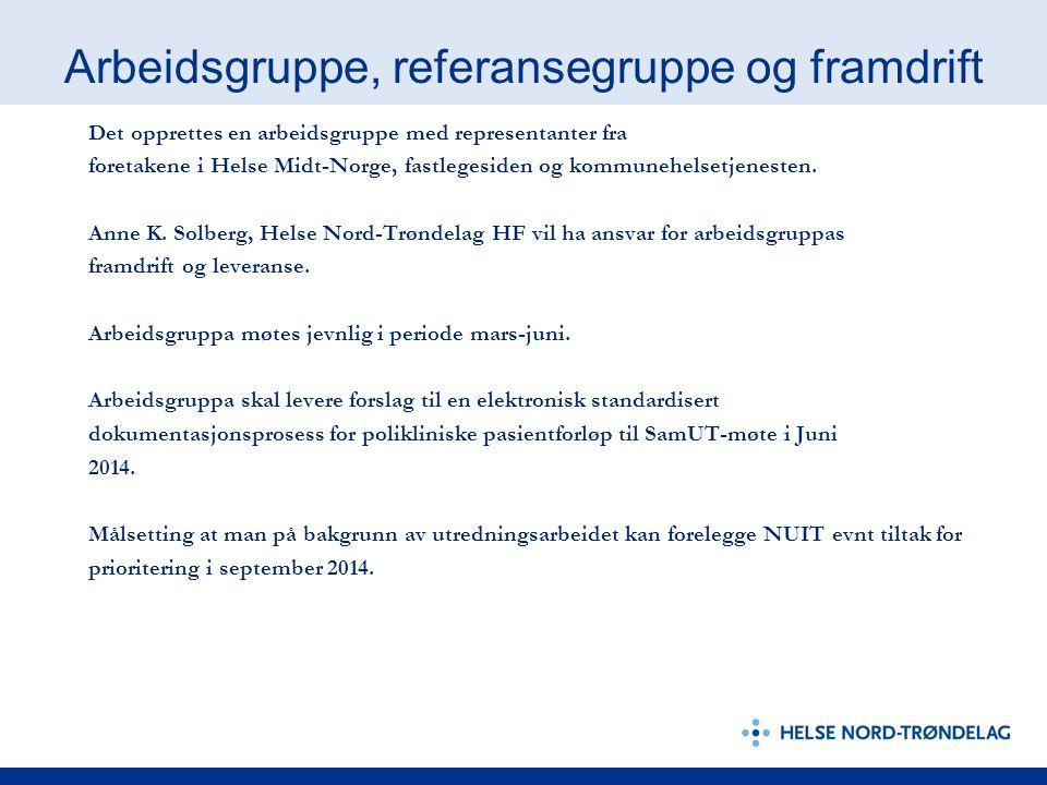 Arbeidsgruppe, referansegruppe og framdrift Det opprettes en arbeidsgruppe med representanter fra foretakene i Helse Midt-Norge, fastlegesiden og kommunehelsetjenesten.